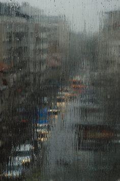 Rainy ,gloomy day trough the wet window by Marija Anicic - Stocksy United Cozy Rainy Day, Rainy Dayz, Rainy Mood, Gloomy Day, Rainy Weather, Rainy Night, Rainy Day Photography, Window Photography, Nature Photography