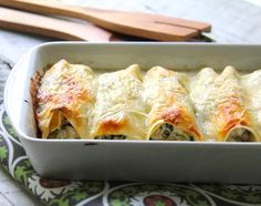 Chicken, Spinach and Artichoke Cannelloni - A baked pasta dish that's easy to do for a special dinner for two.