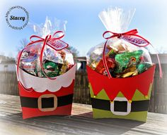 Stacey's Creative Corner: Santa Elf Fry Boxes Stampin' Up! Christmas Favors, Christmas Paper Crafts, Stampin Up Christmas, Christmas Candy, Christmas Treats, Christmas Projects, Holiday Crafts, Christmas Decorations, Christmas Holidays
