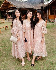 We love this baby pink lace dress for bridesmaid attire! Inspired from Dress Brukat, Hijab Dress Party, Batik Dress, Dress Outfits, Fashion Dresses, Dress Lace, Lace Dress Styles, Swag Dress, Pink Dress