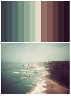 Prussian blue through brown gradient based on a photo of the twelve apostles rock formation, Australia