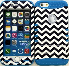 "Blue, Black and White ""Chevron Zigzag Lines with Non-Slip Grip Texture"" 3 Piece Layered ULTRA Tuff Custom Armored Hybrid Case for the NEW iPhone 6 Plus 5.5"" Inch Smartphone by Apple {Made of Soft Silicone Gel and Hard Rubberized Plastic with External Built in Kickstand} ""All Ports Accessible"""