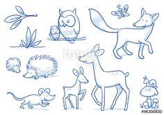 """Laden Sie den lizenzfreien Vektor """"Cute cartoon forest animals. Owl, fox, deer, hedgehog, mouse. Hand drawn doodle vector illustration."""" von danielabarreto zum günstigen Preis auf Fotolia.com herunter. Stöbern Sie in unserer Bilddatenbank und finden Sie schnell das perfekte Stockbild für Ihr Marketing-Projekt!"""