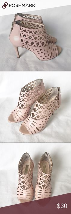 """I.N.C. Peep toe booties Stunning blush color boots. Perfect for the spring/summer. Very sexy and very comfortable. I have added pictures of some wear seen on these cuties, fortunately they are in areas that are not noticeable. You will receive many compliments in these ;). Size is 6.5 and heel size is 3.5"""" INC International Concepts Shoes Ankle Boots & Booties"""