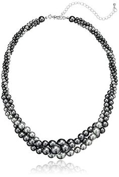"""Gold Tone Grey Simulated Three Strand Twisted Pearl Necklace, 18   2\"""" >>> You can get additional details at the image link."""