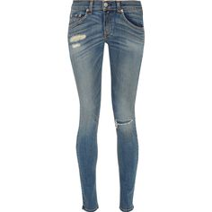 Rag & bone Distressed mid-rise skinny jeans ($135) ❤ liked on Polyvore featuring jeans, jean's, mid denim, super ripped skinny jeans, blue skinny jeans, ripped jeans, faded skinny jeans and skinny leg jeans