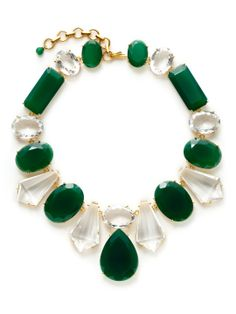 "Green Onyx & Clear Quartz Bib Necklace by Bounkit at Gilt 16"" long, 2.5"" bib 24K gold plated brass"