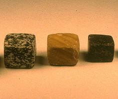 The standardized Harappan binary weight system used in all settlements. Cubical weights in 3 graduated sizes. The smallest  is 0.856 grams and the most common weight is approximately 13.7 grams which is in a 16th ratio.