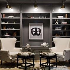 Gray Paneled Den, Contemporary, Den/library/office