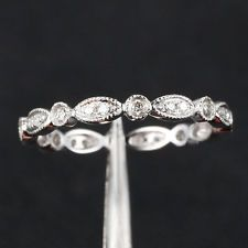 Art Deco Antique Style .32ct Diamond Milgrain 14K White Gold Wedding Band Ring
