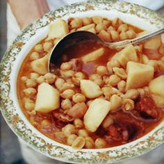 "THE BEST Cuban Recipes and Cuban Food!: Garbanzos (Chickpeas) >>>> ""Improvise freely with this recipe, adding whatever your pantry holds. For variation, substitute red or white beans for the garbanzos. Cuban Recipes, Soup Recipes, Cooking Recipes, Easy Recipes, Amazing Recipes, Crockpot Recipes, Recipies, Cuban Dishes, Cuban Cuisine"