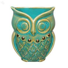 Buy Toothbrush Holder Ceramic Owl Teal Online India | Zansaar Décor Store