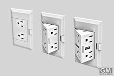 Hide the electrical outlets when not in use by installing these pop out outlets. Their innovative design is perfect for a modern and minimalistic home – when you need them, a simple push from your finger reveals a pop-out outlet cube ready for use. Smart Home Control, Home Technology, Wall Outlets, Home Office Decor, Office Ideas, Desk Ideas, Creative Home, Future House, Home Remodeling