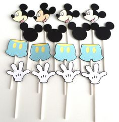 16 Mickey Mouse Themed Cupcake Toppers Baby by ScrapsToRemember, $12.00