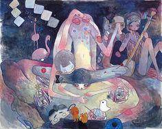 Aya Takano, <i>Yoshino Cherry</i>, 2009 acrylic on canvas 71.57 x 89.48 inches (181.8 x 227.3 cm)
