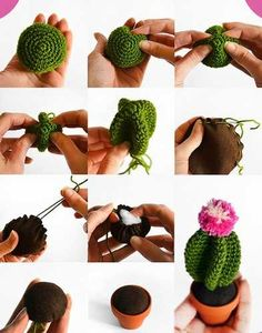 Cactus - Tutorial ❥ // looks really simple, a great holiday gift!Amigurumi Cactus - Tutorial ❥ // looks really simple, a great holiday gift! Crochet Diy, Cactus En Crochet, Crochet Gratis, Crochet Amigurumi, Amigurumi Patterns, Crochet Dolls, Crochet Flowers, Crochet Patterns, Crochet Cactus Free Pattern