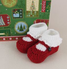 Christmas Booties - Baby Girls Red Mary Jane Shoe with Socks Attached 0-6 Months £12.00