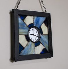 Blue Ivory Stained Glass Wall Clock Native American Design OOAK