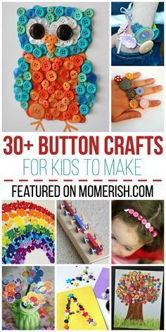 Find over 30 fun button crafts for kids that will keep them busy for hours! Animals, holidays, and more! - Crafting In Line Button Crafts For Kids, Crafts For Kids To Make, Craft Activities For Kids, Diy Crafts For Kids, Projects For Kids, Fun Crafts, Craft Ideas, Kids Diy, Decor Crafts