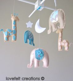 Baby crib mobile  Custom Baby Mobile  Elephant by LoveFeltXoXo
