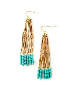 Turquoise Chain Tassel Earrings