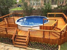 Check out some pictures of customer built decking (full decking) around there above ground pool! Here you can get an idea of what your backyard can become! Swimming Pool Decks, Above Ground Swimming Pools, My Pool, In Ground Pools, Swimming Holes, Above Ground Pool Landscaping, Backyard Pool Landscaping, Sloped Backyard, Oberirdische Pools