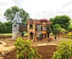 A Harry Potter themed playhouse! Play Houses, Home And Garden, Garden Houses, Mansions, House Styles, Harry Potter, Outdoors, Room, Home Decor