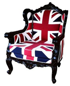ben sherman unon jack chair  Like the look of the glamorous almost Louis XVI style frame of the chair (I'm no furniture expert so I could be seriously wrong about that-Antiques Roadshow I am not) contrasted with the modern look of the British flag which I love the look of--and have loved Brit.stuff for a while!