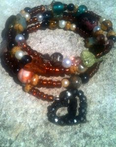 Memory Wire Bracelet Beads and Charm by By5Jewelry on Etsy, $14.50