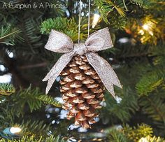 gilded pine cone from apumpkinandaprincess.com; would be cute outdoors all winter paired up with birdseed hanging cones.  Try spray painting with sealant first (at least 3 to 4 coats if you are in a very cold area).