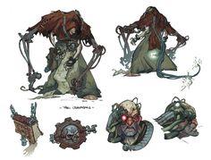 Low-ranking Adeptus Mechanicus / Priest of the Machine-Cult Creature Concept Art, Creature Design, Illustrations, Illustration Art, Character Concept, Character Art, Design Alien, Godzilla, Warhammer 40k Art
