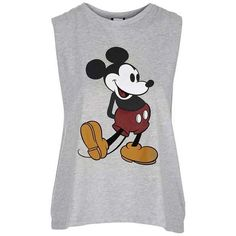 TopShop Drop Armhole Mickey Tank ($28) ❤ liked on Polyvore featuring tops, mickey mouse tops, mickey mouse tank, mickey mouse tank top, dropped armhole tank and topshop
