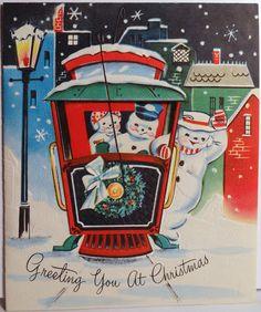 Snowman People Ride The Streetcar Trolley Vintage