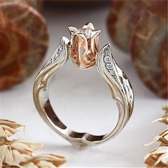 Rose Wedding Rings, Silver Wedding Jewelry, Wedding Jewellery Gifts, Jewelry Gifts, Fine Jewelry, Gold Jewelry, Crystal Wedding, Luxury Jewelry, Wedding Bands