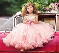 Lovely Lace Appliques Girl Long Pageant Dresses Ball Gown Pink Flower Girl Dresses