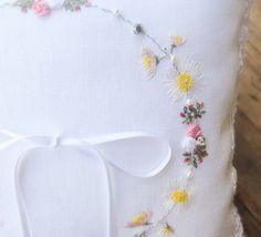 Embroidered Ring Bearer Pillow Ringbearer Pillow by MadeToMarry