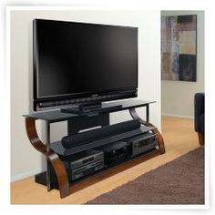 Bell'O 65 in. Curved TV Stand - Vibrant Espresso