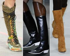 Fall/ Winter 2014-2015 Shoe Trends: High Boots with Low Heels  #shoes #trends #shoetrends