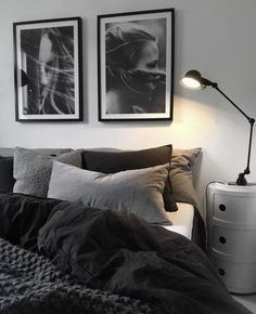 gray bedroom walls, gray bedroom design ideas you want … – cozy home warm Black And Grey Bedroom, Grey Bedroom With Pop Of Color, Grey Bedroom Design, Bedroom Colors, Home Decor Bedroom, Bedroom Furniture, Bedroom Designs, Wood Furniture, Furniture Stores