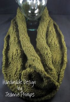Cowl ... Knitted on my round CinDWood afghan loom....my first cables. I love loom knitting!