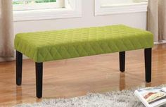 """Melissa collection green diamond pattern faux linen fabric upholstered bedroom ottoman bench . Measures 43.25"""" x 17.75"""" x 17.75"""" H.…"""