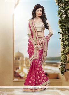 Titillating Hot Pink Sequins Work Designer Traditional Saree Model: YOSAR10168