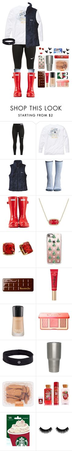"""⛄️🎄2 1/2 more days🎄⛄️"" by sophie-dye on Polyvore featuring NIKE, Southern Proper, Patagonia, Lemon, Hunter, Kendra Scott, Kate Spade, Casetify, Too Faced Cosmetics and MAC Cosmetics"