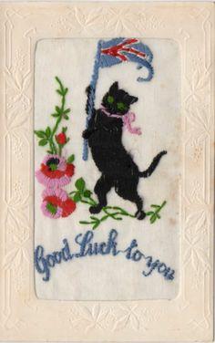#LUCKY BLACK #CAT: EMBROIDERED PATRIOTIC WW1 SILK POSTCARD #blackcatsrule