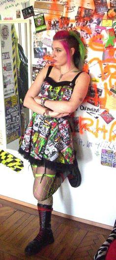 punk chick wearing a hell bunny dress