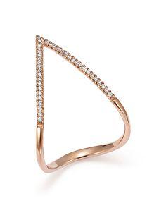 Diamond Micro Pavé Geometric Ring in 14K Rose Gold, .15 ct. t.w.