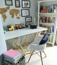 Most Popular Modern Home Office Design Ideas For Inspiration - Modern Interior Design Study Room Decor, Cute Room Decor, Study Rooms, Bedroom Decor, Home Office Design, Home Office Decor, Home Decor, Office Ideas, Office Table