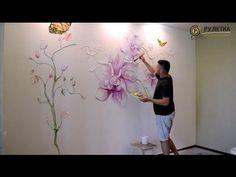 Объемная 3D художественная роспись стен - орхидея. СК Рулетка - комплексный ремонт квартир под ключ. - YouTube