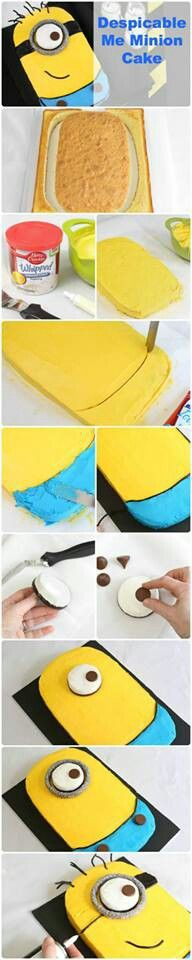 Minion cake.  Brooke would love this and it looks pretty easy to do.