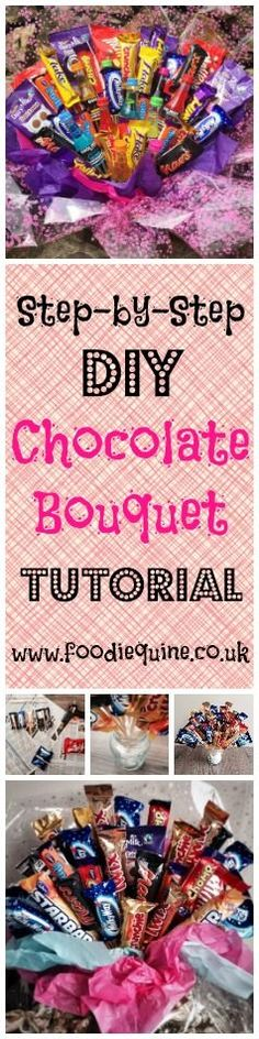www.foodiequine.co.uk A crafty foodie gift tutorial. Learn how to make a Chocoholic Chocolate Bouquet. Candy Bouquet. Sweet Bouquet. The perfect handmade gift to create for a Chocoholic - perfect for Birthdays, Christmas, Valentines, Anniversary, Mother's Day etc. Basically any occasion where you would usually say it with either chocolate or flowers.